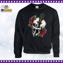 Sweat shirt TETE DE MORT ROSE