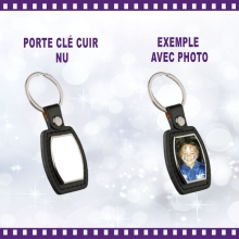 Porte-clé rectangle en simili cuir à personnaliser avec photo